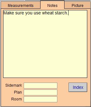 WO - Measurement Note Tab
