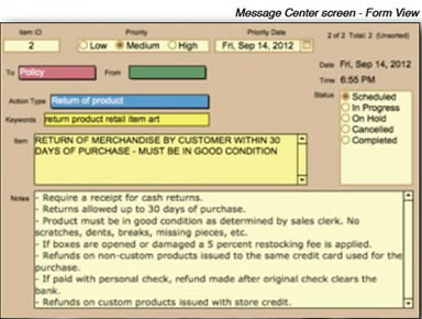 Message Center Screen Form View