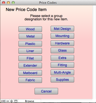 New Price Code item