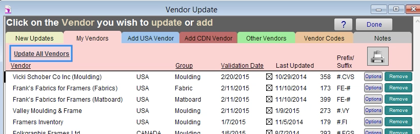 update all vendors button
