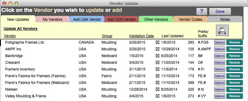 Vendor pricing New Updates tab