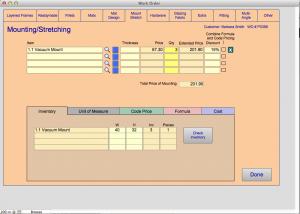 Mounting detail screen